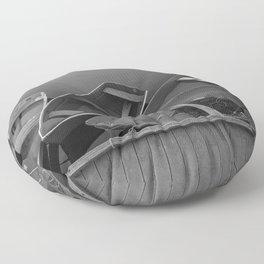 Four Skiffs Black and White Floor Pillow