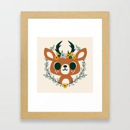 Deer with Flowers / Cute Animal Framed Art Print