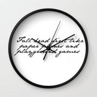lyrics Wall Clocks featuring Lyrics by Lucy Helena