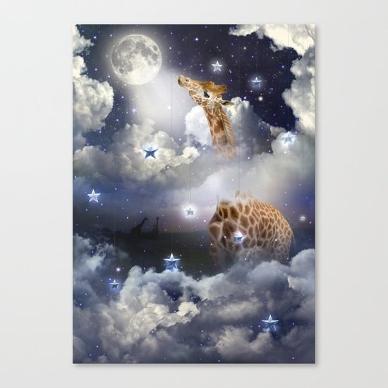 Shoot For The Moon (Giraffe In The Clouds) Canvas Print