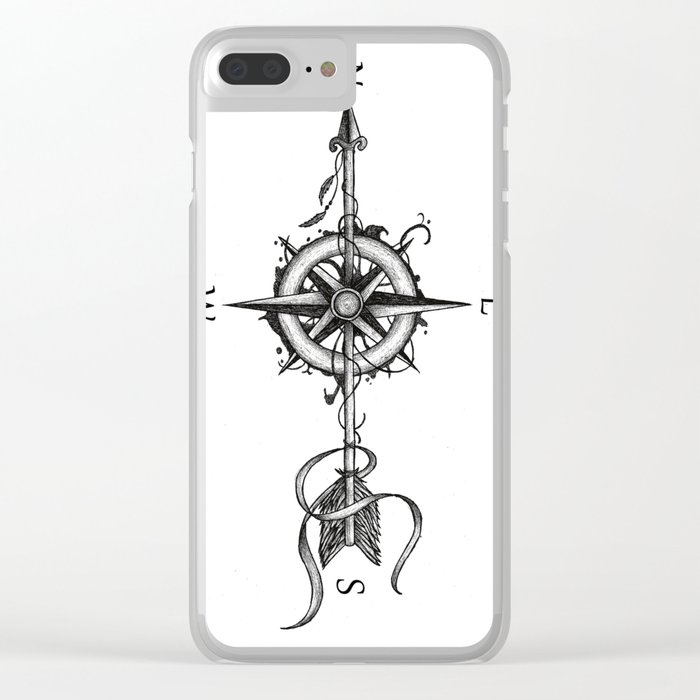 Compass With Arrow Tattoo Stule Clear Iphone Case By Beatrizxe