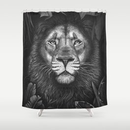 Lion in tropical leaves Shower Curtain