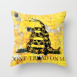 Gadsden Flag on Distressed Metal Sheet with Bullet Holes Throw Pillow