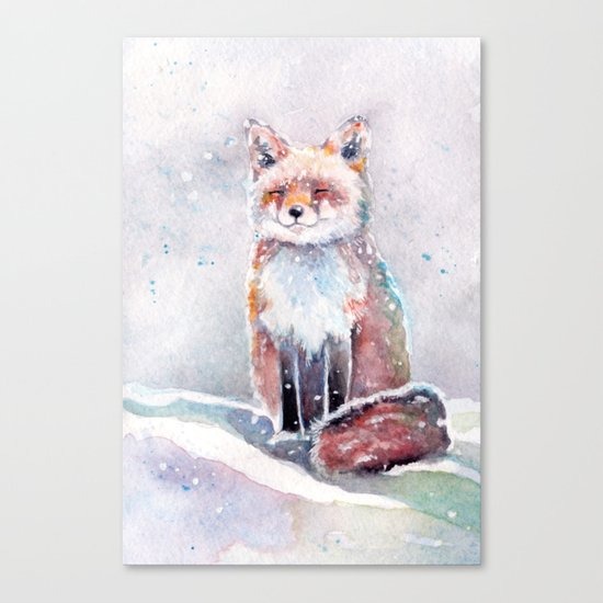 Fox in the Snow watercolor painting Canvas Print