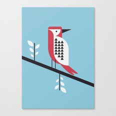 woodpecker in blue Canvas Print