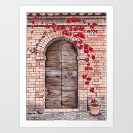 Weathered wooden door with red vine plant Art Print