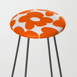 Orange Retro Flowers White Background #decor #society6 #buyart Counter Stool