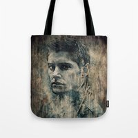 winchester Tote Bags featuring Dean Winchester by Sirenphotos