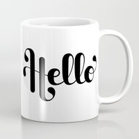 lettering Mugs featuring Hello Lettering by Roberlan Borges