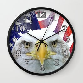American Flag and Bald Eagle Wall Clock