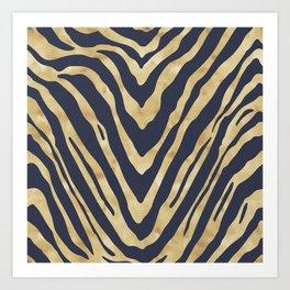 Zebra Stripes in Glam Blue and Gold Art Print