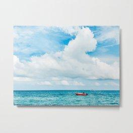 Red Boat against the Caribbean Sky Fine Art Print Metal Print