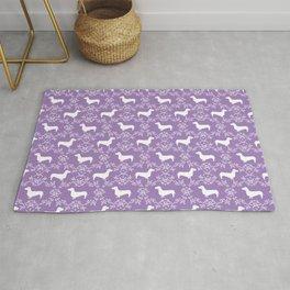 Dachshund purple florals pet portrait dog art dachsie doxie pet art dog breeds Rug