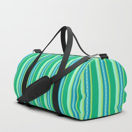 Mid-Century Awning Stripes, Jade Green and Blue Duffle Bag