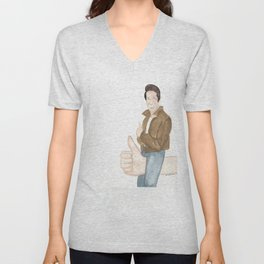 FONZIE RIDING THUMBS UP OFF INTO THE SUNSET Unisex V-Neck