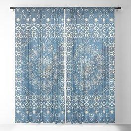 Old Bookshop Magic Mandala in Blue Sheer Curtain