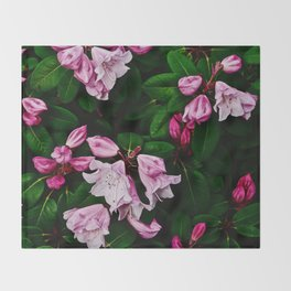 Spring Pink Rhododendron Throw Blanket