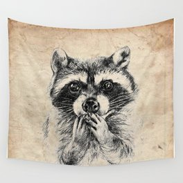 Surprised raccoon Wall Tapestry