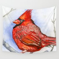 cardinal Wall Tapestries featuring Cardinal by Priscilla George