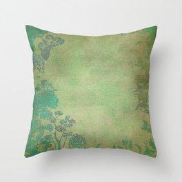 Grunge Garden Canvas Texture:  Green and Teal Butterfly Floral Throw Pillow