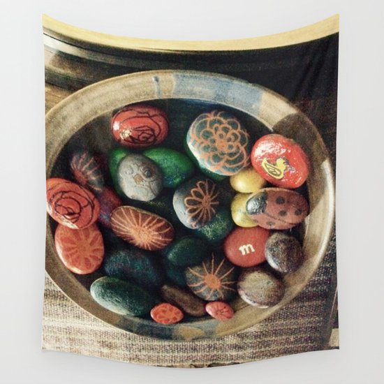 Rock art in ceramic bowl Wall Tapestry