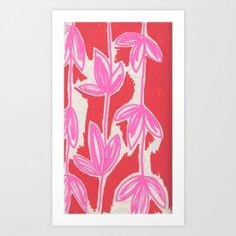 Red and Pink Sketchbook Botanical Art Print