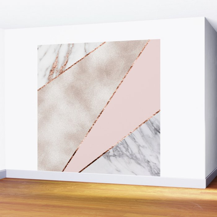 Spliced mixed rose gold marble Wall Mural