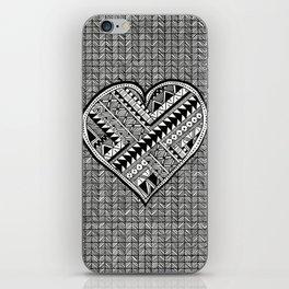 Modern, black and white, geometric shaped heart iPhone Skin