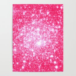 Hot Pink Galaxy Stars Sparkle Poster