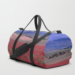 Big Fields Of Poppies. At Purple Sunset. Sierra Arana And Sierra Nevada Duffle Bag