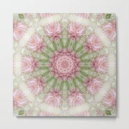 Pink Chrysanthemums Kaleidoscope Art 7 Metal Print