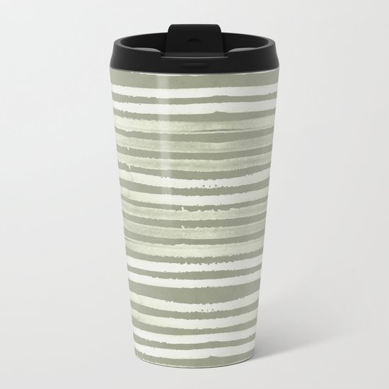 Simply Shibori Stripes Green Tea and Lunar Gray Metal Travel Mug