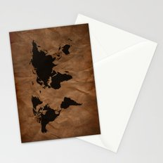 Old Wrinkled World Map Stationery Cards