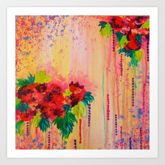 STRAWBERRY CONFETTI PAINTING Abstract Acrylic Floral Beautiful Feminine Flower Bouquet Girlie Pink Art Print