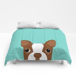 Red Boston Terrier Comforters