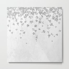 Soft Silver Gray Trailing Ivy Leaf Print Metal Print