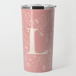 Botanical Letter L (Hibiscus Pink) Travel Mug