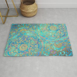 Sapphire & Jade Stained Glass Mandalas Rug