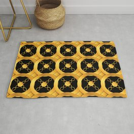Luxurious Art Deco-Like Pattern: Casino Gold Coins Design Rug