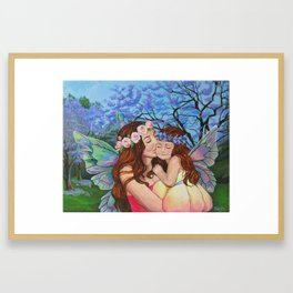 Mother and Daughter Fairies Framed Art Print