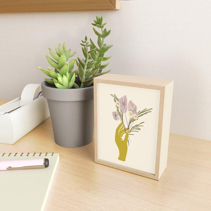 Yellow Hand Florals Framed Mini Art Print