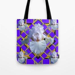 ART DECO WHITE IRIS PURPLE ART Tote Bag