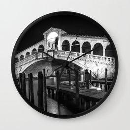 VENICE Rialto Bridge at Night | Monochrome Wall Clock