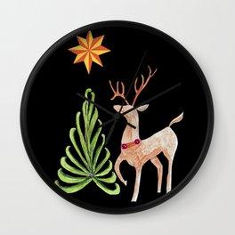 Deer near a tree, gazing at a star Wall Clock