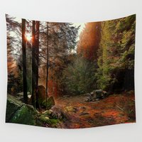cabin Wall Tapestries featuring Hidden Cabin by Robin Curtiss