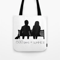 500 days of summer Tote Bags featuring (500) Days of Summer by ☿ cactei ☿