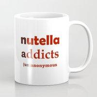 nutella Mugs featuring Nutella Addicts Unanonymous by Jozi