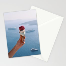 Hand holding melting ice cream in Santorini Stationery Cards