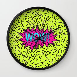 Neon Retro 80's 90's Scribbled Wow! Typography Wall Clock