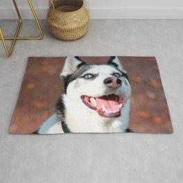 Siberian Husky dog face Rug